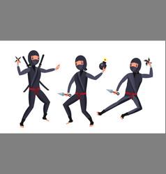 ninja warrior black suit showing vector image