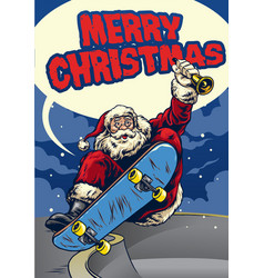 Santa claus playing skateboard greeting christmas vector