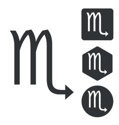 Scorpio icon set monochrome vector image