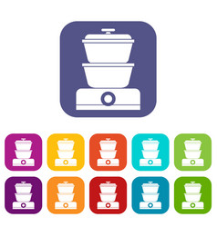 Steamer icons set vector
