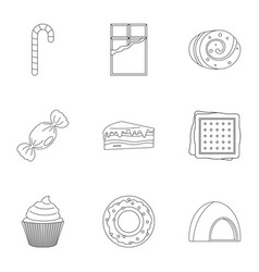 Sweet food icon set outline style vector