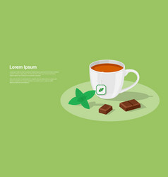 Tea and chocolate vector