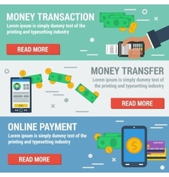 Three horizontal banners ONLINE PAYMENT vector image