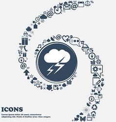 Weather icon in the center around the many vector