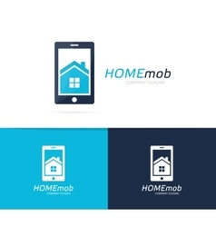 House and phone logo combination real vector