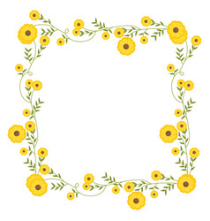 Floral square wreath decoration with yellow vector