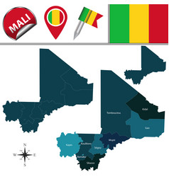 Map of mali with named regions vector