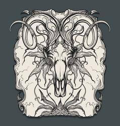 Ram skull engraving vector