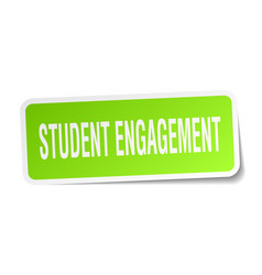 Student engagement square sticker on white vector