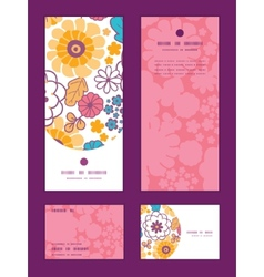 Colorful oriental flowers vertical frame vector