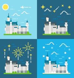 Flat design of Schwanstein castle Germany vector image