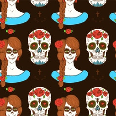 Sketch mexican skull and girl vector