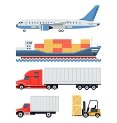 Freight transportation and delivery logistics flat vector