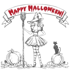 Background with witch vector image