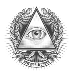 All seeing eye in delta triangle vector