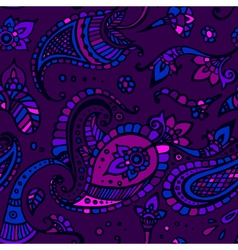 Purple colored paisley seamless pattern hand drawn vector