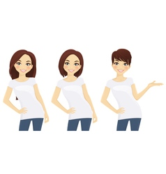 Set of cute girls in white T-shirts vector image