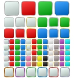 Color metallic rounded square button set vector