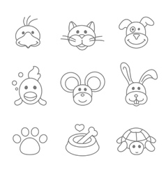 Pets related icon set in thin line style vector image