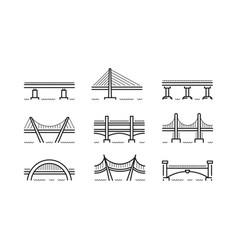 bridge line icon set vector image vector image