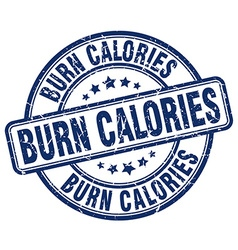 Burn calories blue grunge round vintage rubber vector