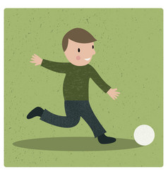cartoon boy playing football vector image vector image