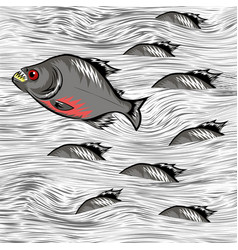 Cartoon fish swimming on water background vector