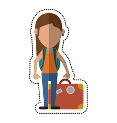 cartoon woman traveling hat and suitcase vector image