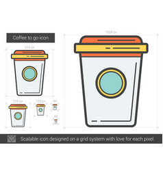 coffee to go line icon vector image vector image