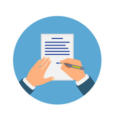 Colored cartooned hand signing contract vector