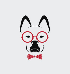 dog wearing glasses on white background animal vector image vector image