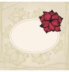 Doodling greeting card with hand drawn flowers in vector