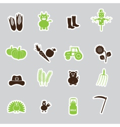 Farm simple stickers set eps10 vector