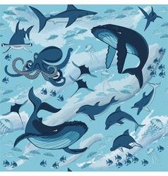 fish and marine animals vector image