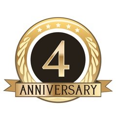 Four year anniversary badge vector