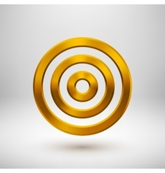 Gold technology circle metal badge vector