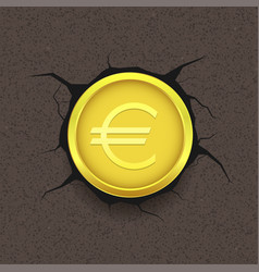 Golden euro on cracked background vector
