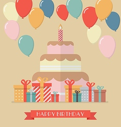 Happy birthday vintage greeting card vector