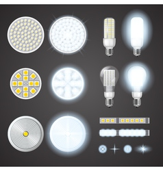 Led lamps and lights effects set vector