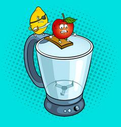 Lemon pirate and apple pop art vector