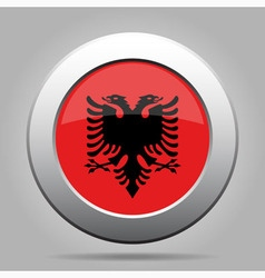 metal button with flag of Albania vector image