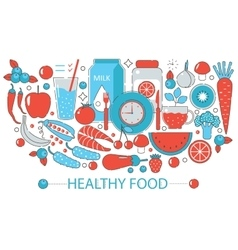 Modern Flat thin Line design Healthy food concept vector image