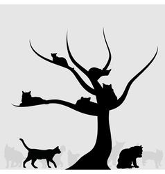 on a tree cats lay a vector image