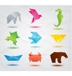 Origami colored animals vector