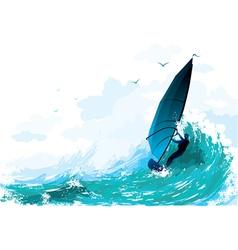 sailboarding vector image