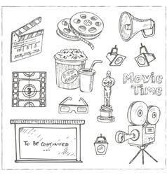 Set of objects and symbols on the cinema theme vector image vector image