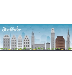 Stockholm skyline with grey buildings vector