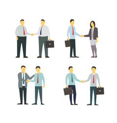 Two men shake each other hands business style vector