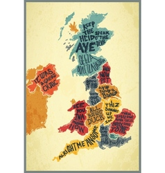 United kingdom typography accents map vector