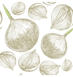 Whole Bulb Onion and Slice Background Pattern vector image vector image